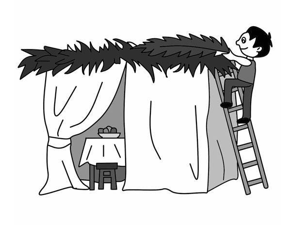 Illustration: building a Sukkah – Sukkot. Click on image for zoom and color.