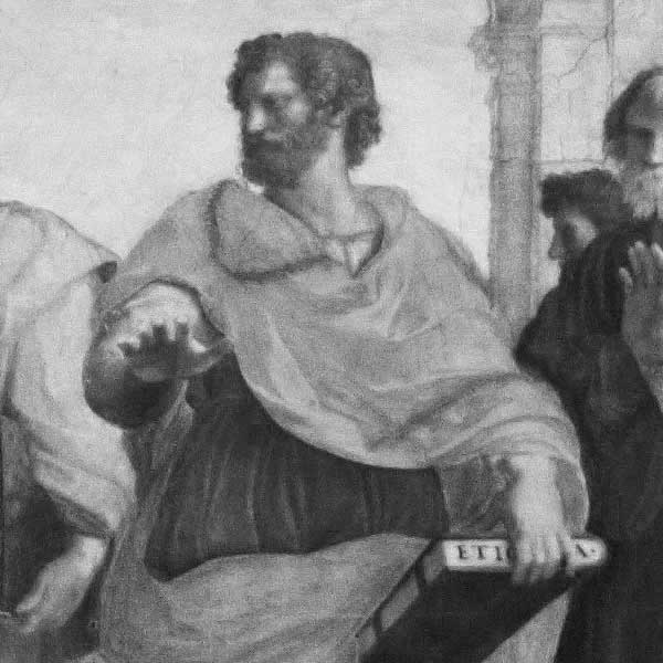 """Aristotle, fragment from the fresco """"School of Athens"""" by Rafael, Vatican palace"""