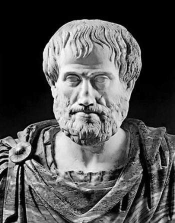 Portrait of Aristotle in marble, Roman copy (2nd cent. BC) of a work by Lysippos (330 BC). The alabaster chiton is a later addition. National Museum of Rome.