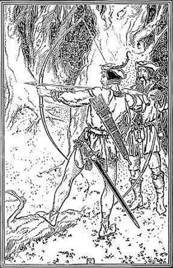 Robin Hood and Guy of Gisborne. Illustration from A Book of Old English Ballads, made by George Wharton Edwards, 1896.