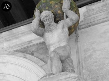 Atlante carrying the globe on his shoulders.