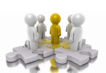 Illustration: a team and a team leader