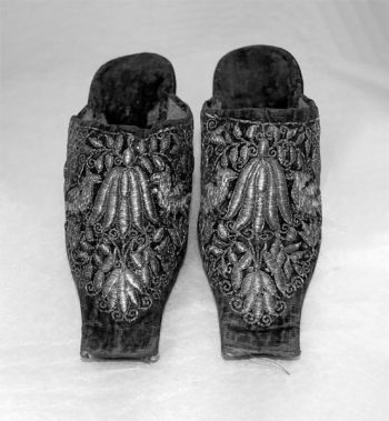 Women's mules or backless slippers, ca. 1650s-1660s, England.